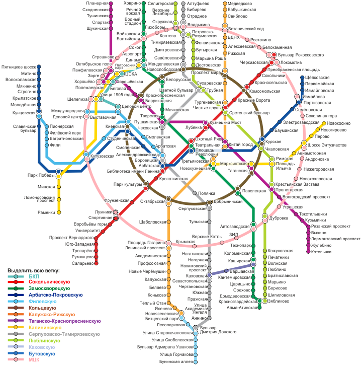 Щелковская схема метро